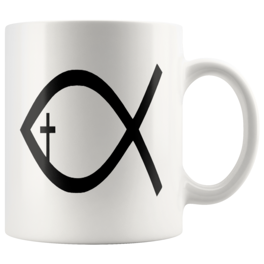 Black Cross,White mug,Jesus Fish,christian gift,inspirational