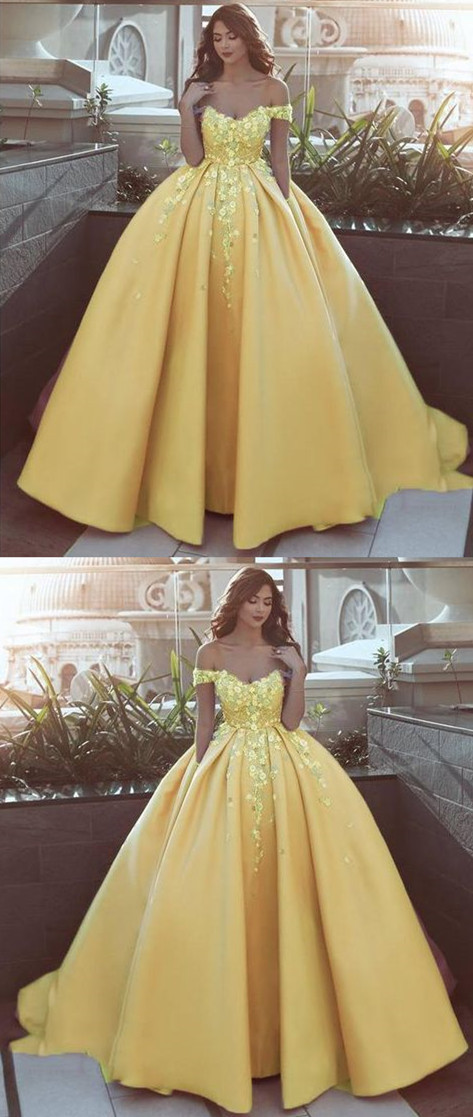 1e7e81bcd64 off the shoulder flower Ball Gown Prom Dress Appliques Lace Satin Wedding  Dress