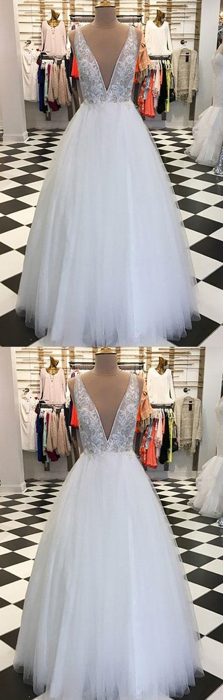Charming A-Line Deep V-Neck White Tulle Long Prom/Evening Dress with Lace