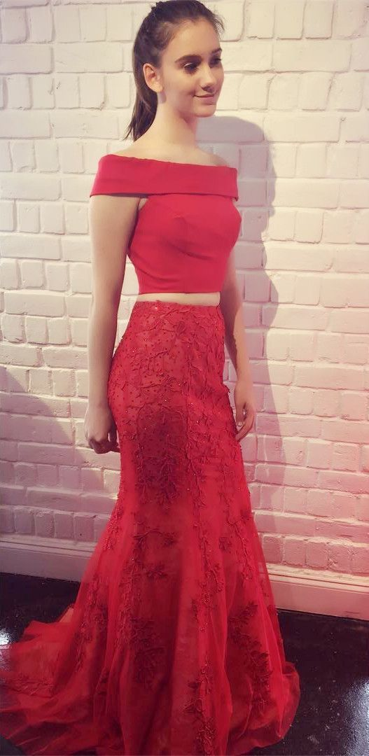 82d335e80a858 Gorgeous Two Piece Bateau Cap Sleeves Sweep Train Prom Dress, Beautiful Red  Lace