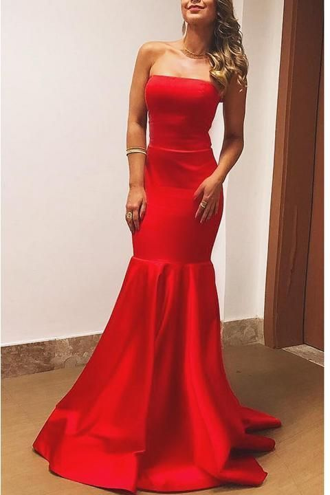 074e5dc7fc42 Strapless Mermaid Elegant Cheap Red Prom Dresses Evening Dress Prom Gowns