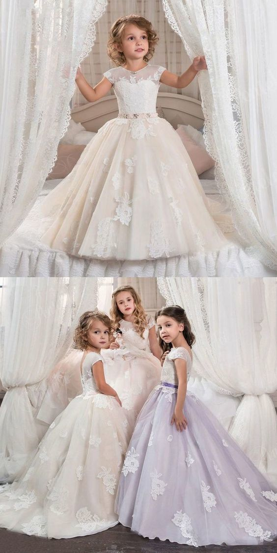 Tulle Applique Flower Girl Communion Formal Party Prom Ball Gowns Princess Dress