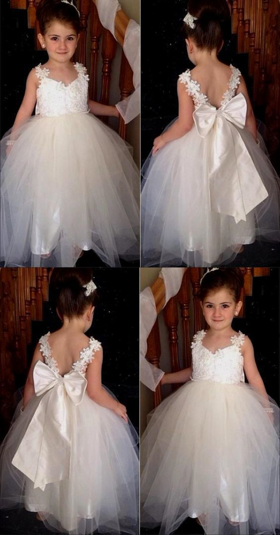 flower girl dress with bow-knot, cute flower girl dress, lovely flower girl ball