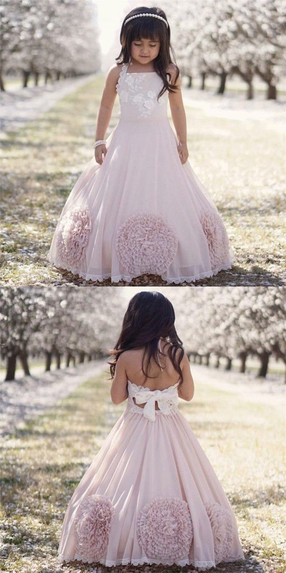 Pretty Ball Gown Halter Blush Pink Flower Girl Dresses with Bow Knot