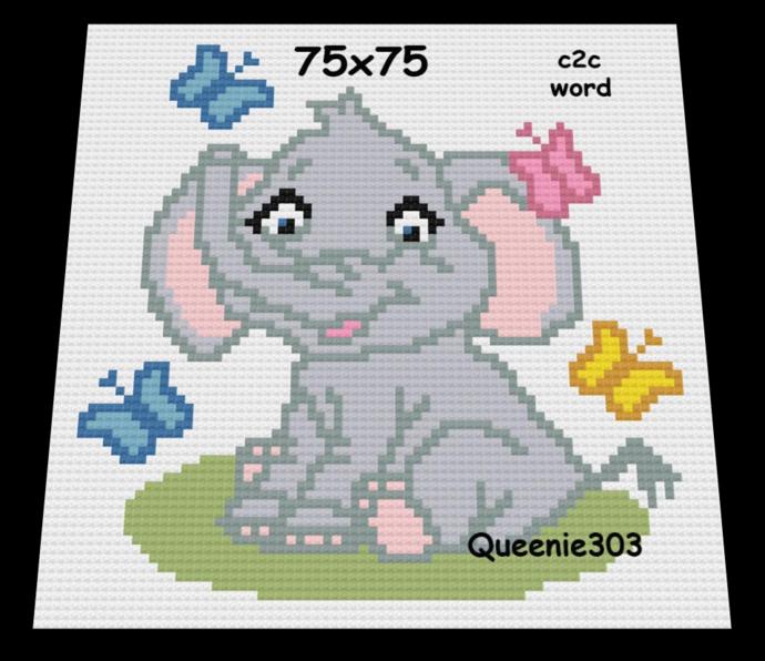 Elephant  Butterflies 75x75 c2c (CORNER to CORNER)