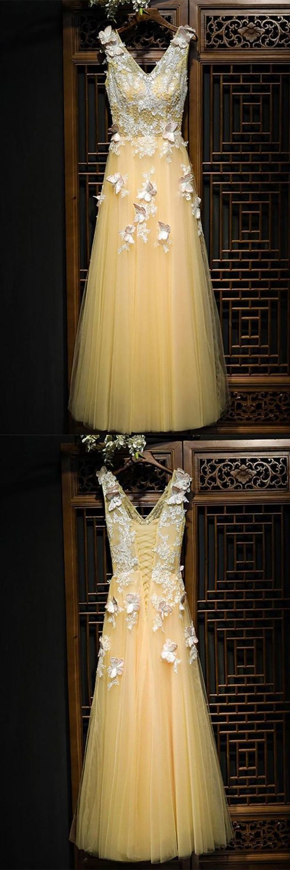 Charming V neck Yellow Appliques Homecoming Dress, Lace up Tulle Long Prom