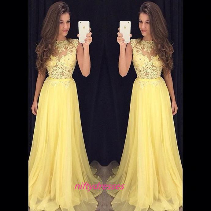 5404bf8fb Elegant Yellow Chiffon Prom Dress