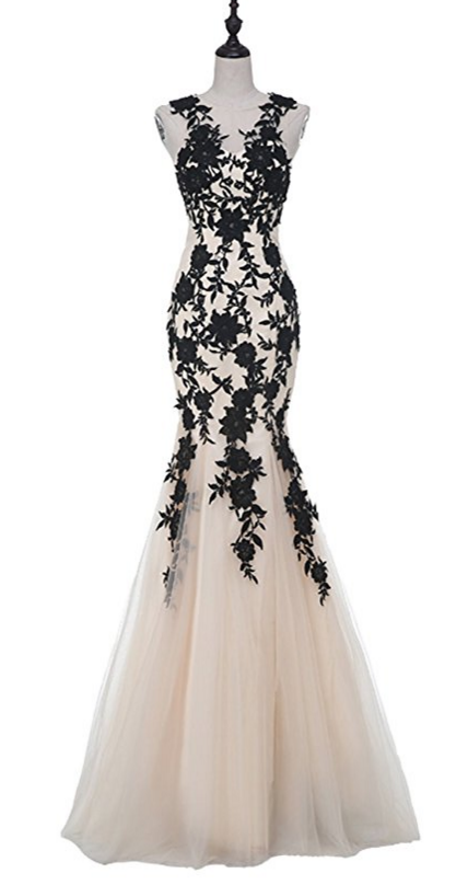 Black Mermaid Evening Dress,Lace Appliques Tulle Formal Dress,Long Prom Dresses