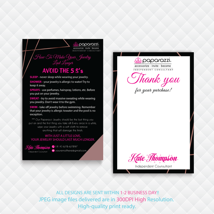 Paparazzi Thank you cards, Paparazzi Consultant Cards, Paparazzi Care Cards,