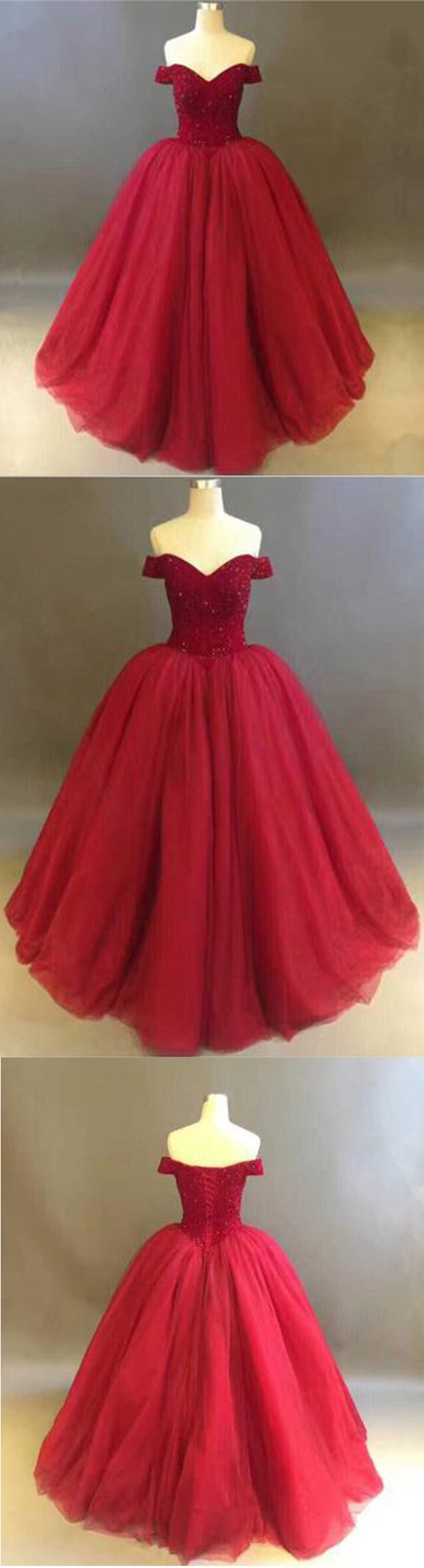 Red tulle strapless floor length off shoulder ball gown, long winter formal