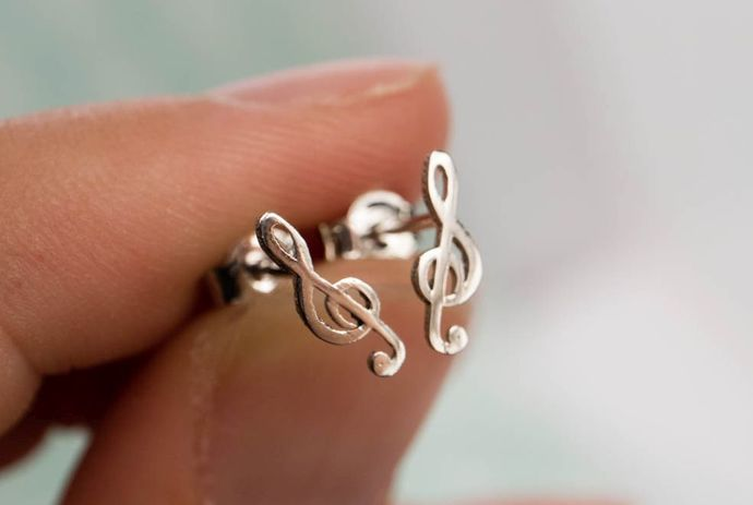 White Gold Treble Clef Stud Earrings in Minimalist Style, Elegant Music Themed