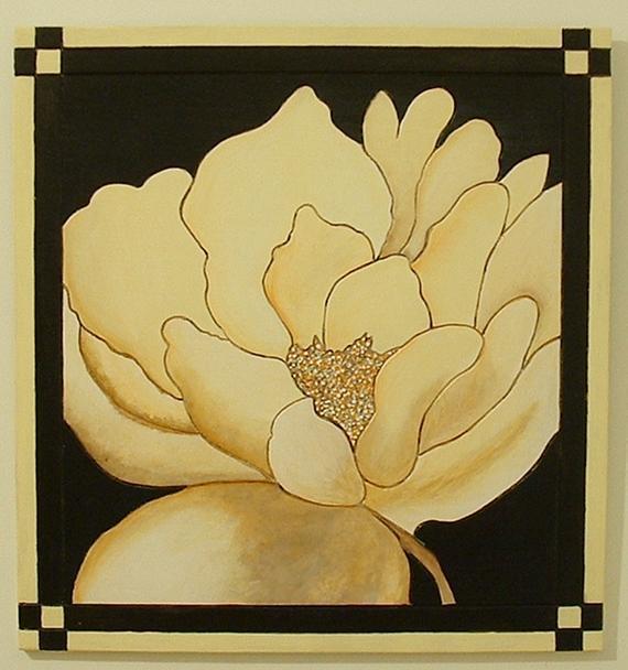 Wood Wall Art, Flower Contemporary Black and White, Minimalist Art