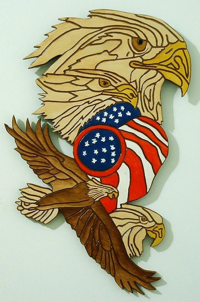 Sculptured Wood, Eagles, Patriotic Flag, Wall Decor
