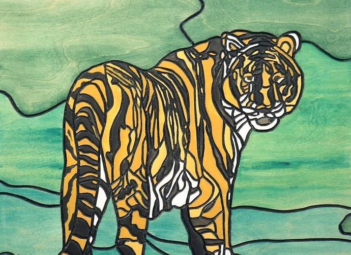Tiger Wood Wall Art, Intarsia, Wall Hanging, Framed, Decorative Art