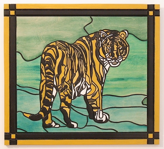 Tiger Wood Wall Art, Intarsia, Wall Hanging, Framed, Decorative Art