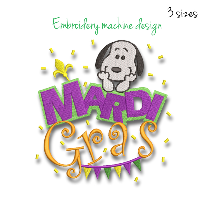Snoopy machine embroidery design Mardi Gras designs digital instant download