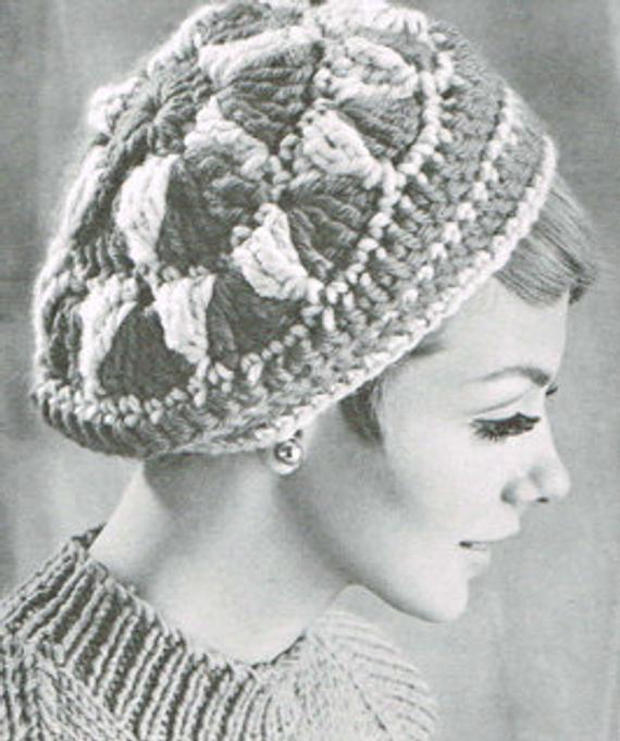 Instant PDF Digital Download Vintage Crochet Pattern Women,s Ladies Beret Hat