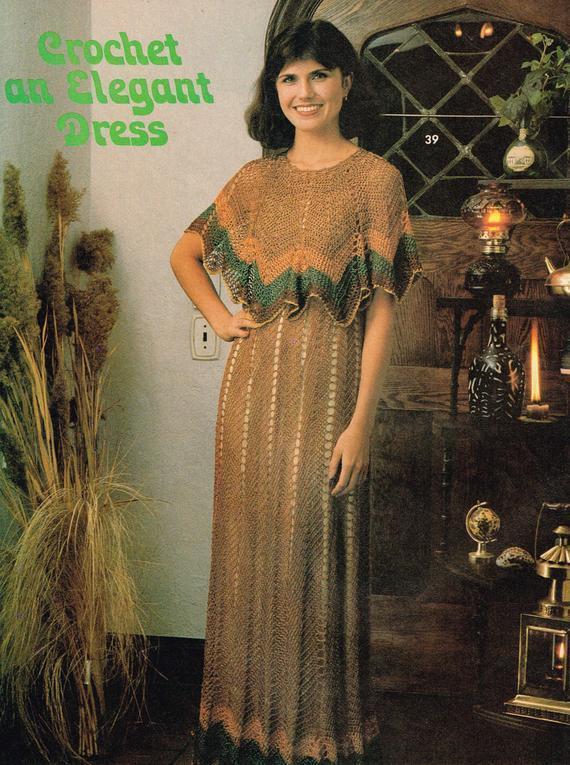 stant PDF Digital Download Ladies Womens Long Maxi Crochet Dress Pattern One