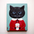 Be Mine Little Valentine Black Cat Original Folk Art Acrylic Painting