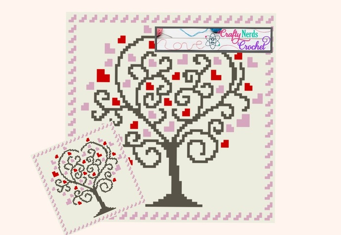 Heart Tree C2C Corner to Corner Pattern Graph with Written 81x81