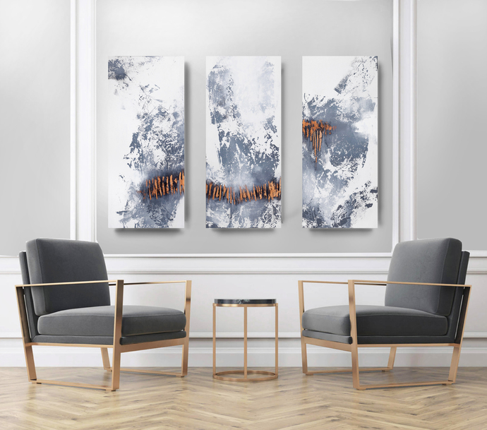 Triptych on canvas Abstract Art, Acrylic Wall Art , Abstract Art, black and