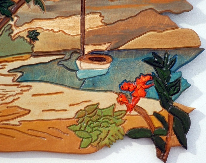 Wood Art, Landscape with Sail Boat & Beaches, Wood Decor