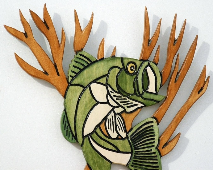 Bass Large Mouth Fish Trophy Wall Art, Wood Wall Hanging, Man Cave Decor for