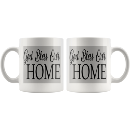 1 Pair (2 Mugs) GOD Bless Our Home for Christian,house warming religious gift