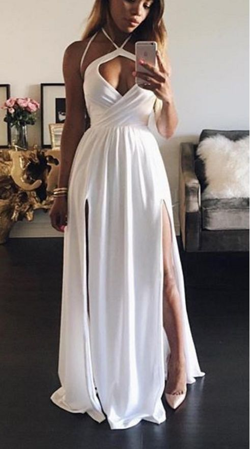 Simple Pretty White Chiffon A-line Long Prom Dresses, Sexy Floor Length Party