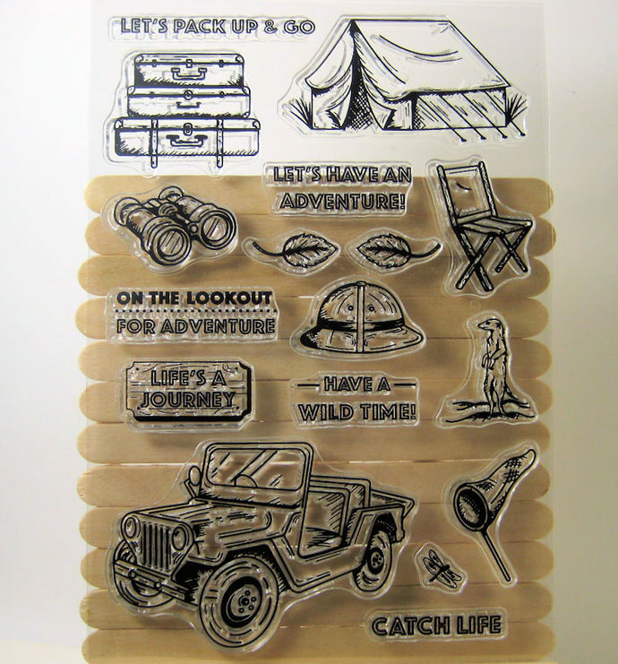 Camping, Tent, Jeep, Binocular, Clear Stamp Set