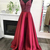 Cute burgundy satin long V neck sequins prom dress, long party dresses