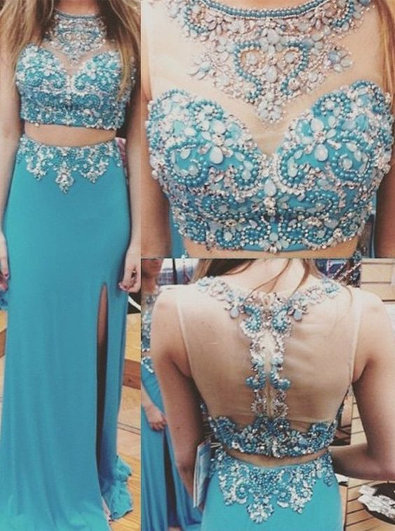 Gorgeous two pieces prom Dress, blue beaded prom dress, side slit elegant long