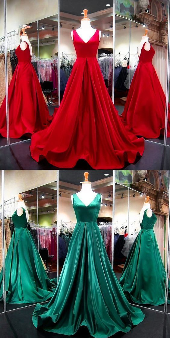 V Neck Formal Evening Gown Red A Line Prom Dress With Open Back