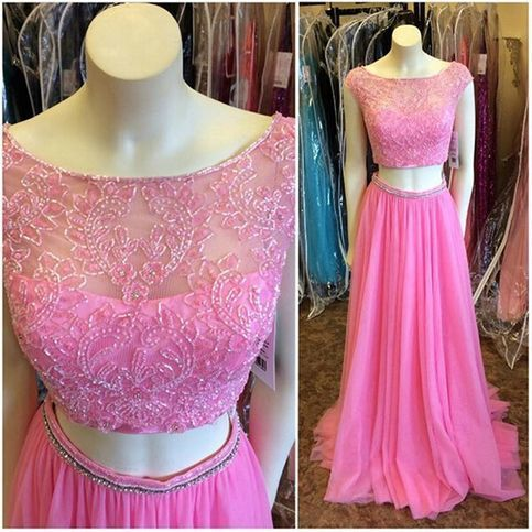 Charming Cap sleeves Prom Dresses,Two Pieces Long Prom Dresses,Boat Neck Beaded
