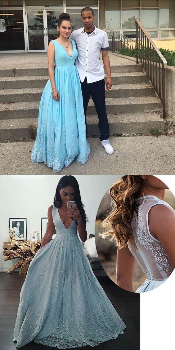 New Design Light Blue Deep V Neck Prom Dress,A Line Formal Gown With Sheer Back