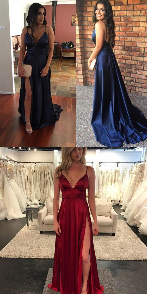 Navy Blue V Neck Formal Gown ,Backless Long Party Dress With Side Slit