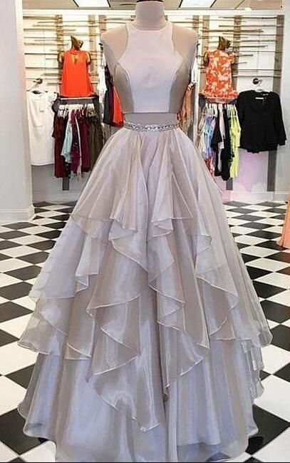 A Line Prom Dress,Sexy Prom Dress,Two pieces long prom dress, evening dress