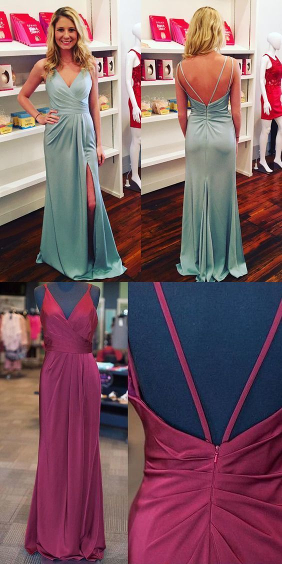 Ice Blue V Neck Prom Dress,Ruched Bodice Long Party Dress,Formal Gown With Slit