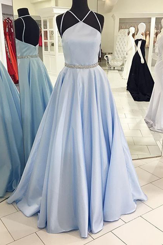 Light blue satins long A-line formal dresses with spaghetti straps