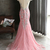 Pink tulle shinny beaded long mermaid evening dress with sleeves