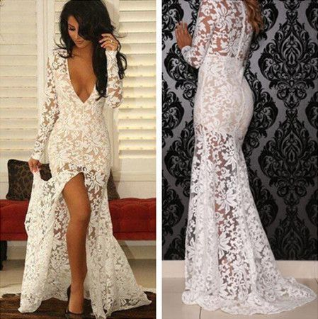 Deep V-Neck Long Sleeve See Through White Lace Front Slit Sexy Prom Dresses,