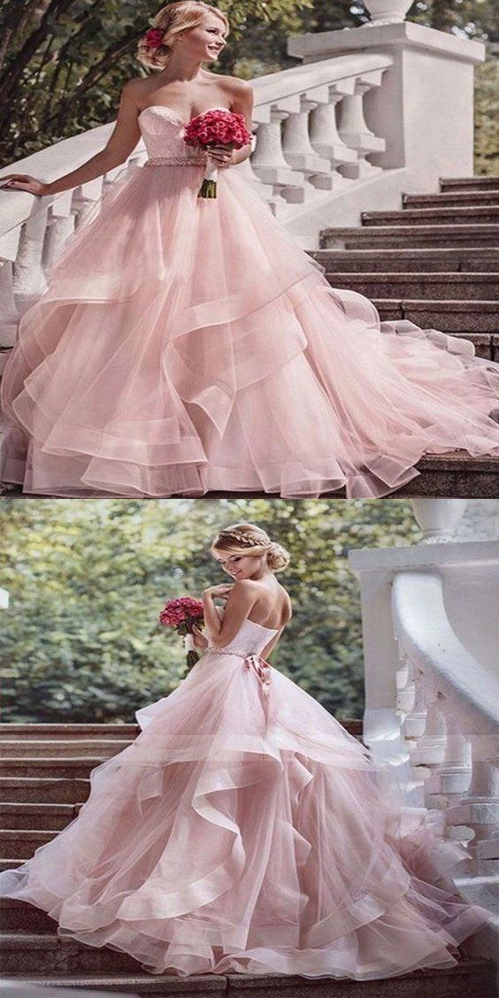 A-Line Pink Strapless Tulle Floor Length Wedding Dresses With Lace Up Back