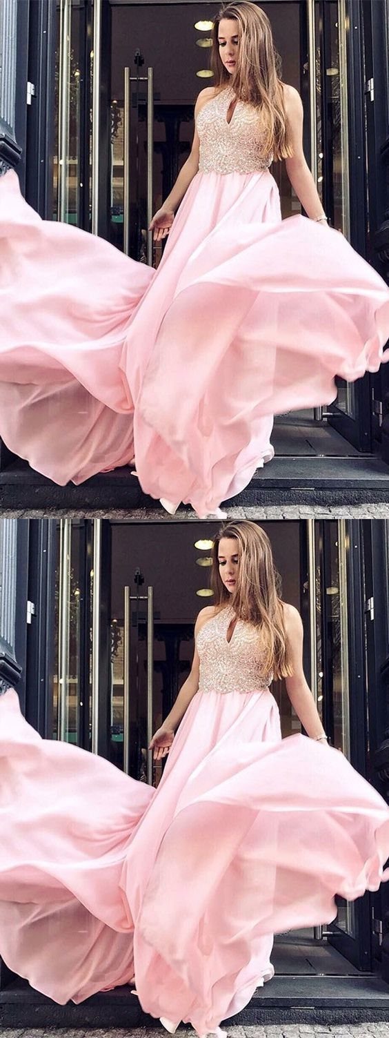 Stunning Custom Made A-Line Round Neck Long Pink Prom Dress with Beading Keyhole