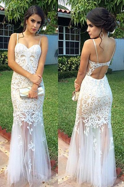 Mermaid Spaghetti Straps Open Back White Tulle Prom Dress with Lace