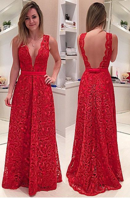 A-Line Deep V-Neck Illusion Back Long Red Lace Prom Dress with Sash