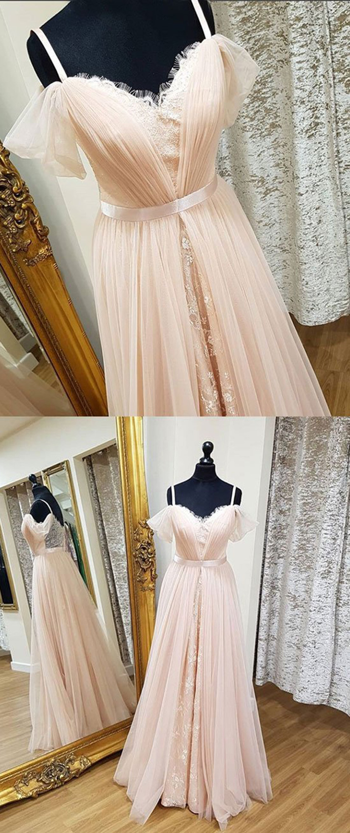 Sweetheart blush pink tulle long customize prom dress, long lace bridesmaid