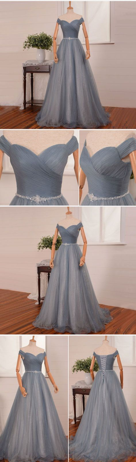 simple gray tulle long tulle prom dress, gray evening dress, gray bridesmaid