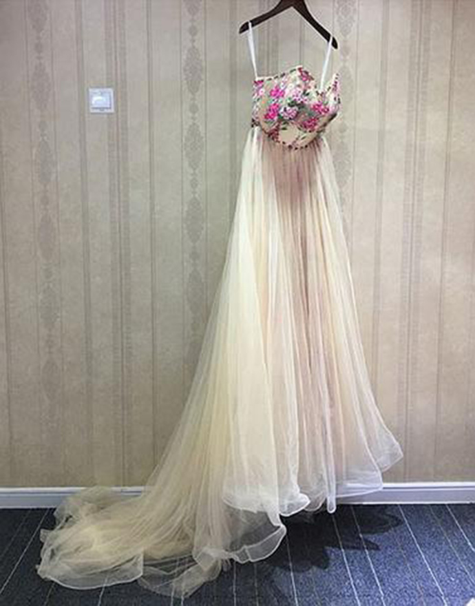 Simple strapless long A-line handmade evening dress, long champagne party dress