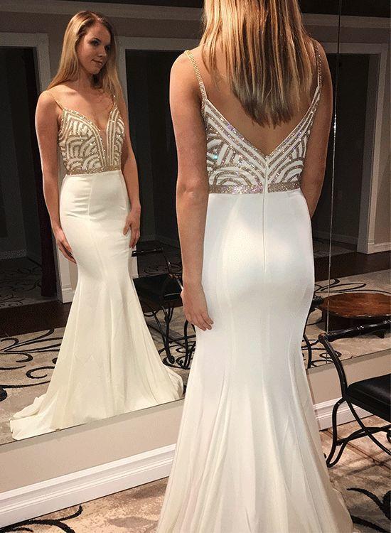 Sexy Beading Mermaid Long Prom Dresses White Spaghetti Straps Evening Dresses