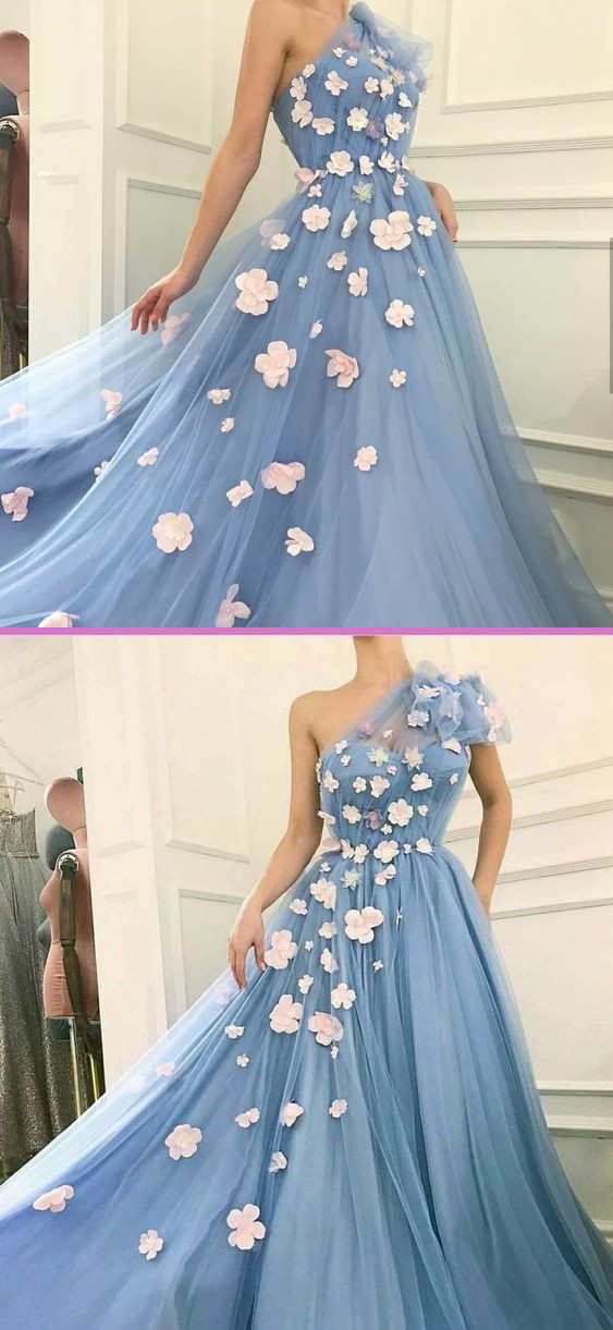 Charming One Shoulder, Tulle Prom Dress ,Applique Prom Dresses ,A-Line Long